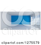 Clipart Of A 3d Empty Room Interior With Floor To Ceiling Windows And A Blue Wall Royalty Free Illustration by KJ Pargeter