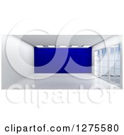 Clipart Of A 3d Empty Room Interior With Floor To Ceiling Windows And A Dark Blue Wall Royalty Free Illustration