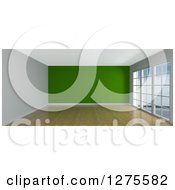 Clipart Of A 3d Empty Room Interior With Floor To Ceiling Windows Wood Floors And A Green Wall Royalty Free Illustration