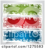 Clipart Of Green Red And White Snowflake Website Banners Royalty Free Vector Illustration