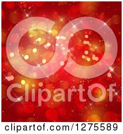 Clipart Of A Red And Gold Christmas Bokeh Background Royalty Free Illustration