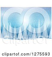 Clipart Of A Blue Christmas Background With White Evergreen Trees And Snow Royalty Free Vector Illustration