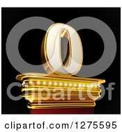 Clipart Of A 3d 0 Number Zero On A Gold Pedestal Over Black Royalty Free Illustration by stockillustrations