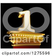 Clipart Of A 3d 1 Number One On A Gold Pedestal Over Black Royalty Free Illustration
