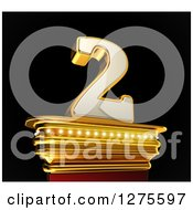 Clipart Of A 3d 2 Number Two On A Gold Pedestal Over Black Royalty Free Illustration by stockillustrations