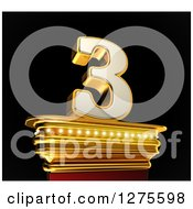 Clipart Of A 3d 3 Number Three On A Gold Pedestal Over Black Royalty Free Illustration by stockillustrations