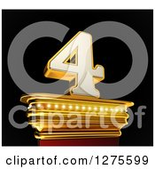 Clipart Of A 3d 4 Number Four On A Gold Pedestal Over Black Royalty Free Illustration by stockillustrations
