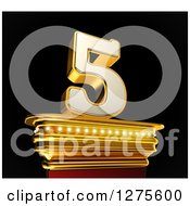 Clipart Of A 3d 5 Number Five On A Gold Pedestal Over Black Royalty Free Illustration by stockillustrations