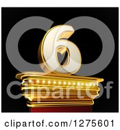 Clipart Of A 3d 6 Number Six On A Gold Pedestal Over Black Royalty Free Illustration by stockillustrations