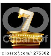 Clipart Of A 3d 7 Number Seven On A Gold Pedestal Over Black Royalty Free Illustration by stockillustrations