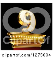 Clipart Of A 3d 9 Number Nine On A Gold Pedestal Over Black Royalty Free Illustration by stockillustrations