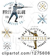 Clipart Of Vintage Apparel Labels With Guns Swords And Soldiers Royalty Free Vector Illustration