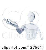Clipart Of A 3d Futuristic Android Robot Holding Out A Hand Over White Royalty Free Illustration