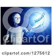Clipart Of A 3d Android Robot Holding Out A Hand Under A Floating DNA Strand With Shining Blue Light Royalty Free Illustration