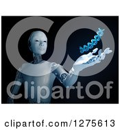 Clipart Of A 3d Android Robot Holding Out A Hand Under A Floating DNA Strand On Black Royalty Free Illustration