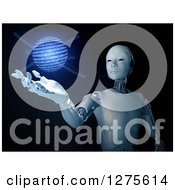 3d Android Robot Holding Out A Hand Under A Glowing Blue Binary Code Globe On Black