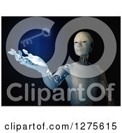 3d Android Robot Holding Out A Hand Under A Glowing Blue Binary Code Key On Black