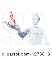 Clipart Of A 3d Android Robot Holding Out A Hand Under A Floating Red DNA Strand On White Royalty Free Illustration