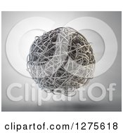 Clipart Of A 3d Floating Sphere Of Tangled Metal Splines Over Light Royalty Free Illustration by Mopic