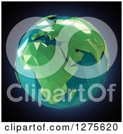 Clipart Of A 3d Poly Earth Featuring Africa On Black Royalty Free Illustration