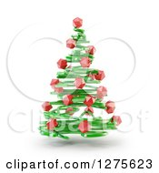 Clipart Of A 3d Green Abstract Christmas Tree With Red Baubles Floating Over White Royalty Free Illustration by Mopic