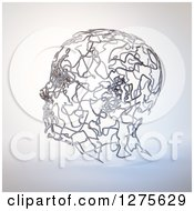 Clipart Of A 3d Human Head Formed Of Metal Wires Royalty Free Illustration