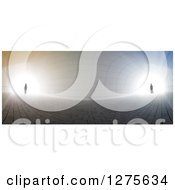 Clipart Of A 3d Silhouetted Couple Standing At Opposite Ends Of A Curved Tunnel With Bright Light Royalty Free Illustration