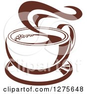 Clipart Of A Dark Brown And White Steamy Coffee Cup 16 Royalty Free Vector Illustration