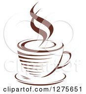Clipart Of A Dark Brown And White Steamy Coffee Cup 19 Royalty Free Vector Illustration
