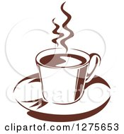 Clipart Of A Dark Brown And White Steamy Coffee Cup 21 Royalty Free Vector Illustration