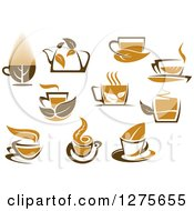 Poster, Art Print Of Leafy Brown Tea Cups And Kettles 3