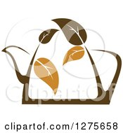 Clipart Of A Leafy Brown Tea Pot 6 Royalty Free Vector Illustration by Vector Tradition SM