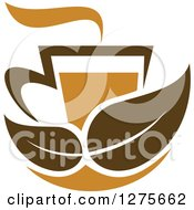 Clipart Of A Leafy Brown Tea Cup 18 Royalty Free Vector Illustration by Vector Tradition SM