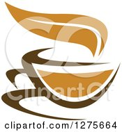 Clipart Of A Leafy Brown Tea Cup 20 Royalty Free Vector Illustration