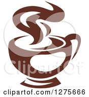 Clipart Of A Dark Brown And White Steamy Coffee Cup 14 Royalty Free Vector Illustration
