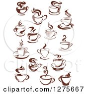 Clipart Of Dark Brown And White Steamy Coffee Cups 2 Royalty Free Vector Illustration