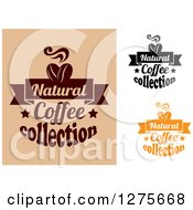 Clipart Of Natural Coffee Collection Text Designs Royalty Free Vector Illustration