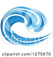 Clipart Of A Blue Splashing Ocean Surf Wave 7 Royalty Free Vector Illustration by Seamartini Graphics