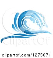 Clipart Of A Blue Splashing Ocean Surf Wave 16 Royalty Free Vector Illustration