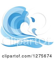 Clipart Of A Blue Splashing Ocean Surf Wave 8 Royalty Free Vector Illustration