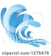 Clipart Of A Blue Splashing Ocean Surf Wave 10 Royalty Free Vector Illustration