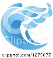 Clipart Of A Blue Splashing Ocean Surf Wave 11 Royalty Free Vector Illustration by Seamartini Graphics