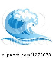 Clipart Of A Blue Splashing Ocean Surf Wave 12 Royalty Free Vector Illustration