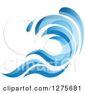 Clipart Of A Blue Splashing Ocean Surf Wave 15 Royalty Free Vector Illustration