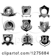 Clipart Of Black And White And Grayscale Golf Shields And Labels Royalty Free Vector Illustration