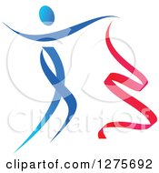 Gradient Blue And Red Ribbon Dancer In Action