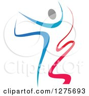 Clipart Of A Gradient Blue And Red Ribbon Dancer In Action Kicking One Leg Up And Behind Royalty Free Vector Illustration