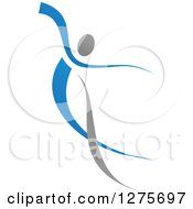 Blue And Gray Ribbon Person Dancing