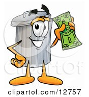 Clipart Picture Of A Garbage Can Mascot Cartoon Character Holding A Dollar Bill