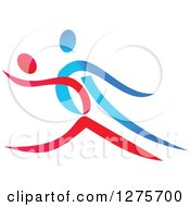 Clipart Of A Blue And Red Couple Ballroom Dancing Royalty Free Vector Illustration by Vector Tradition SM
